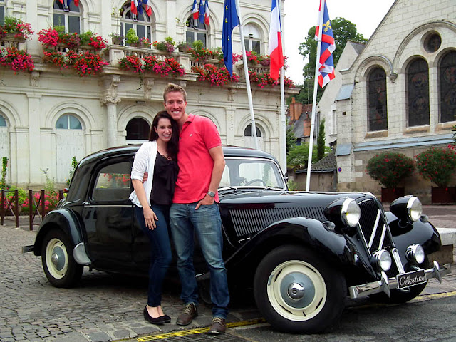 Travellers on a private tour.  Indre et Loire, France. Photographed by Susan Walter. Tour the Loire Valley with a classic car and a private guide.