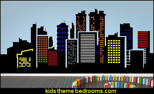 City Skyline With Colorful Building lights Wall Art Décor Decal Vinyl Sticker