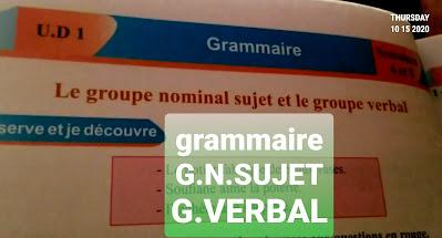 Grammaire unité1. Le groupe nominal et le groupe verbal .4eme année