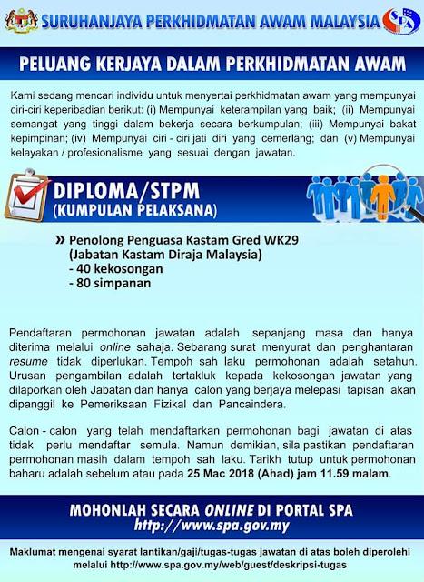 40 Kerja Kosong Penolong Penguasa Kastam Gred WK29 2018
