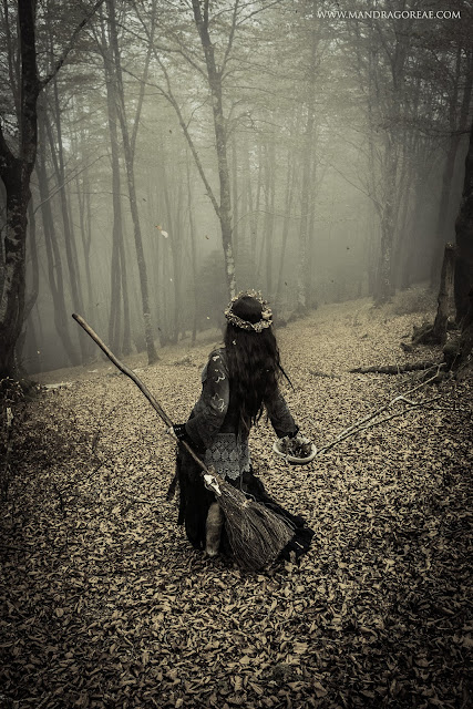 Aker Dantzaria Forest Witch with Fox Broomstick Besom Broom