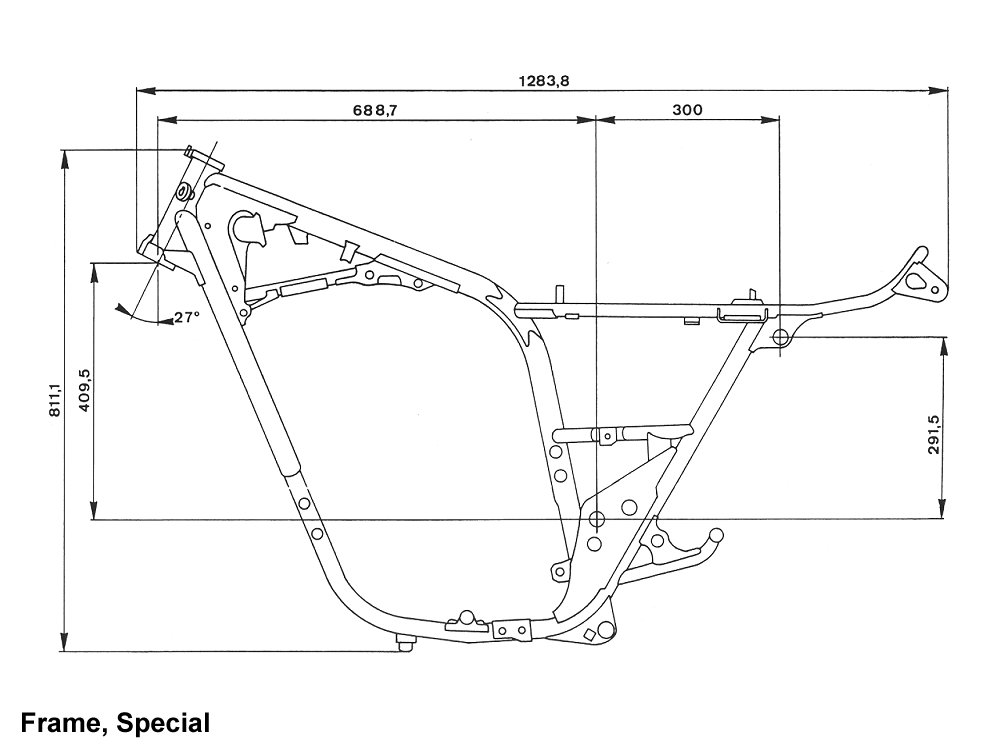 cafe motorcycle frame blueprints