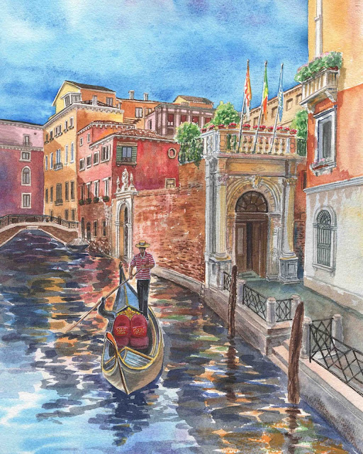 Watercolor Of Venice Canal And Gondolier painting by the artist Irina Sztukowski