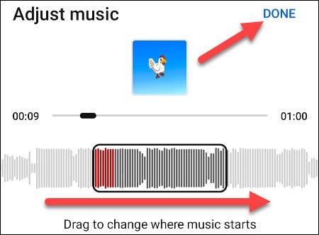 """عدّل الموسيقى وانقر على """"تم""""."""