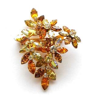 Amber rhinestone brooch by Jewel Craft