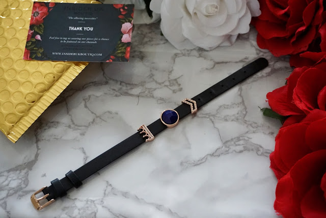 crown sparkles charm black leather slider bracelet by insider UK boutiq