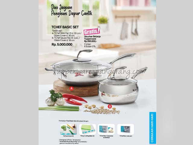 TChef Wok Pan, T Chef Sauce Pan, Panci Tupperware, Cookware
