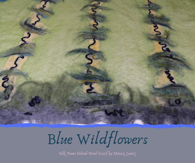 Blue Wildflowers felting detail stripes.