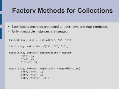 Java 9 Example - Factory Methods for Collection - Creating Unmodifiable List, Set, and Map