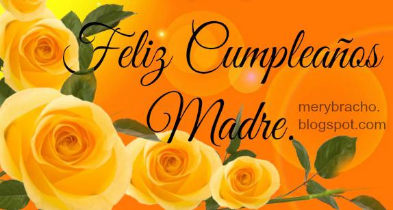 imagen con flores amarillas para desear feliz cumpleaños madre mama mami de una hija o hijo