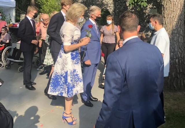 Princess Eleonore wore a roman-lace inset floral print dress from Maje. Blue floral print dress from Carolina Herrera