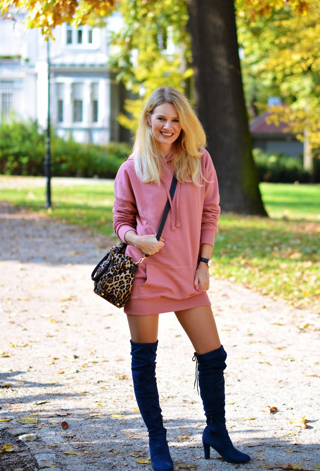 bluza, bershka, hoodie, blog, blogger, stylizacja, look, jako sukienka