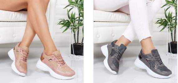 Pantofi sport femei fri, roz pal moderni cu talpa groasa
