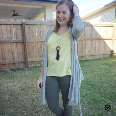 awayfromtheblue Instagram| grey cardigan with pastel yellow tee and olive skinny jeans