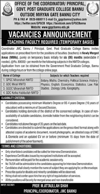 government-postgraduate-college-bannu-jobs-2021-advertisement-application-form