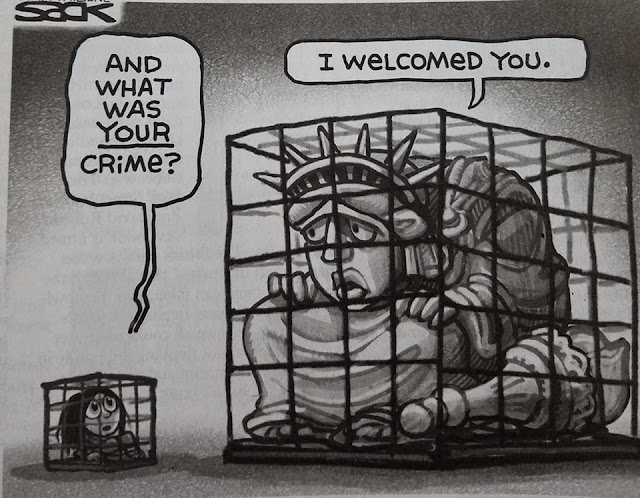 Little girl in cage to Lady Liberty in cage:  What was your crime.  Lady Liberty replies,