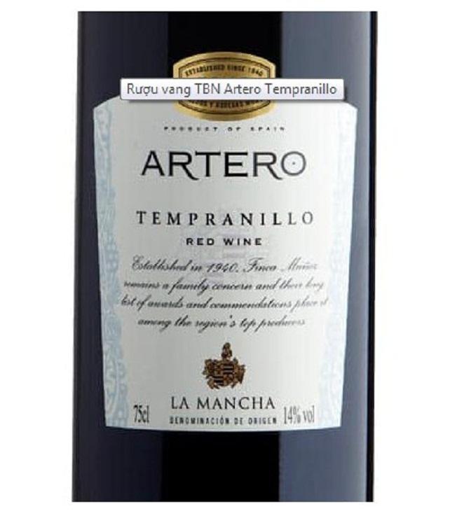 Rượu vang Artero Tempranillo xuất xứ Tây Ban Nha1