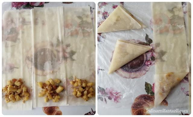 Триъгълни банички с ябълки и орехи