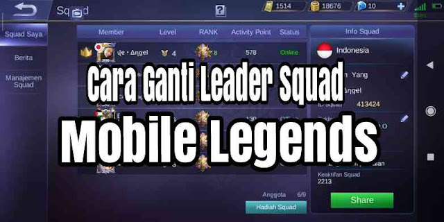 cara ganti leader squad mobile legends