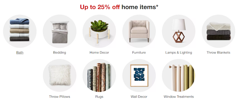Target - Save up to 25%OFF on home items