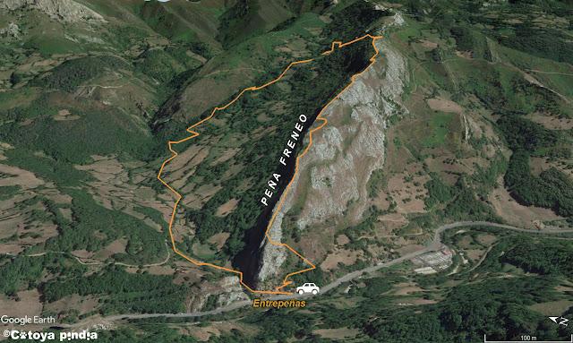 Mapa de la ruta a Peña Freneo desde Entrepeñas en Aller