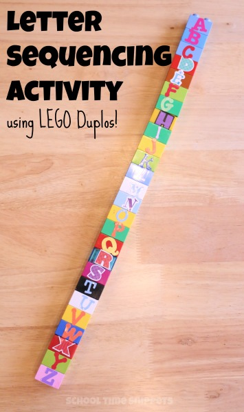 alphabet activity using LEGOs