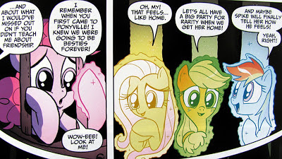 The ponies glow with the light of friendship