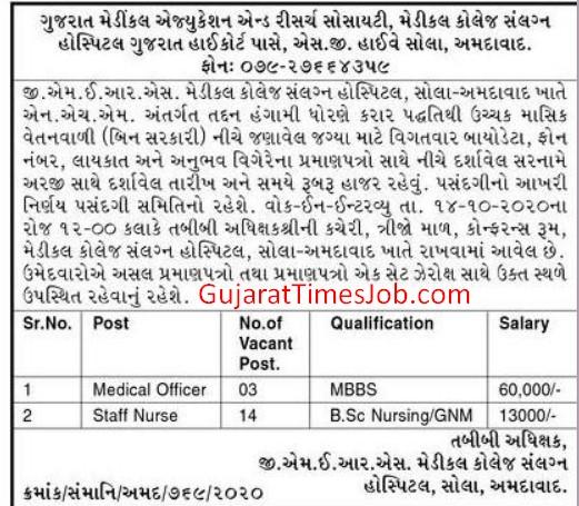 GMERS Hospital Ahmedabad Recruitment 2020