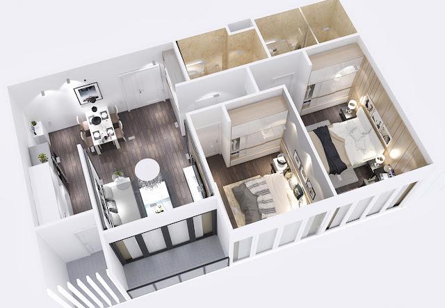 Thiết kế căn 2 phòng ngủ City Gate 3 - Chủ đầu tư NBB