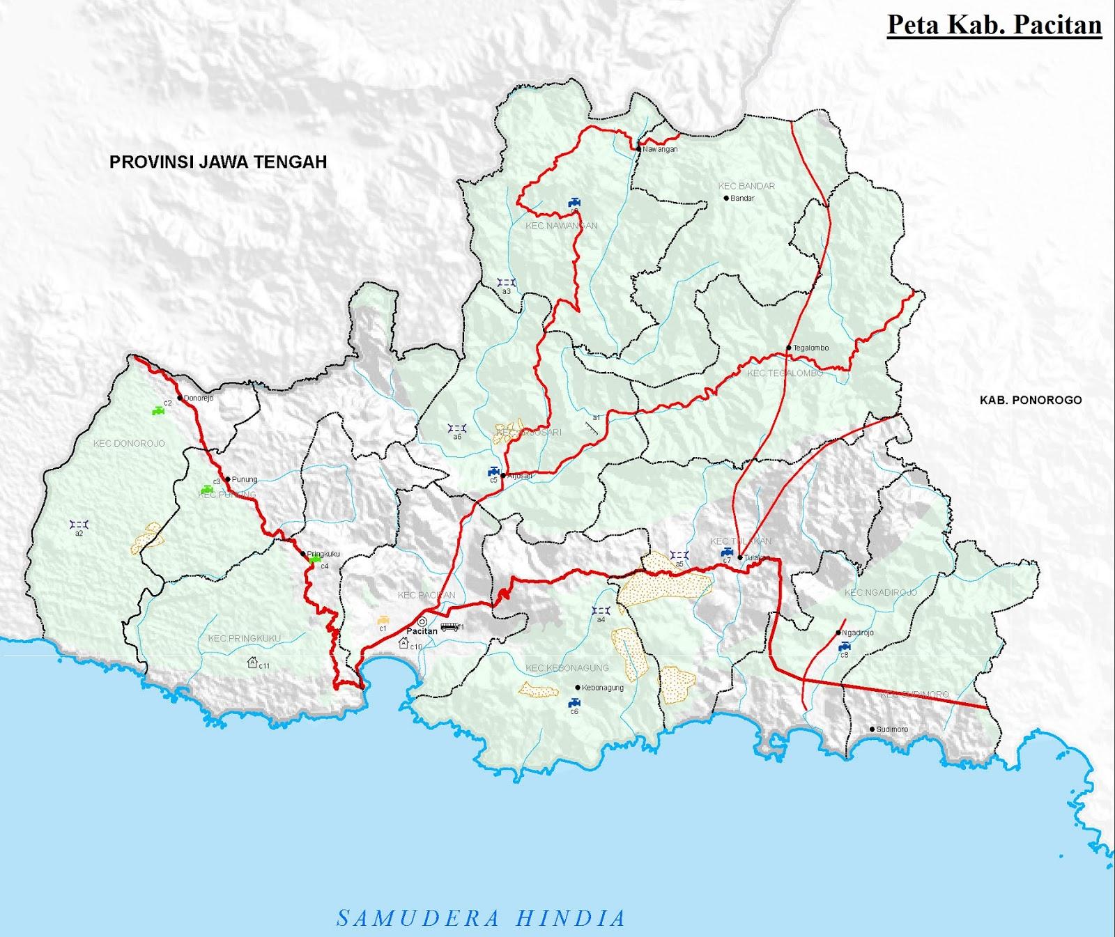 Gambar Peta Kabupaten Pacitan HD