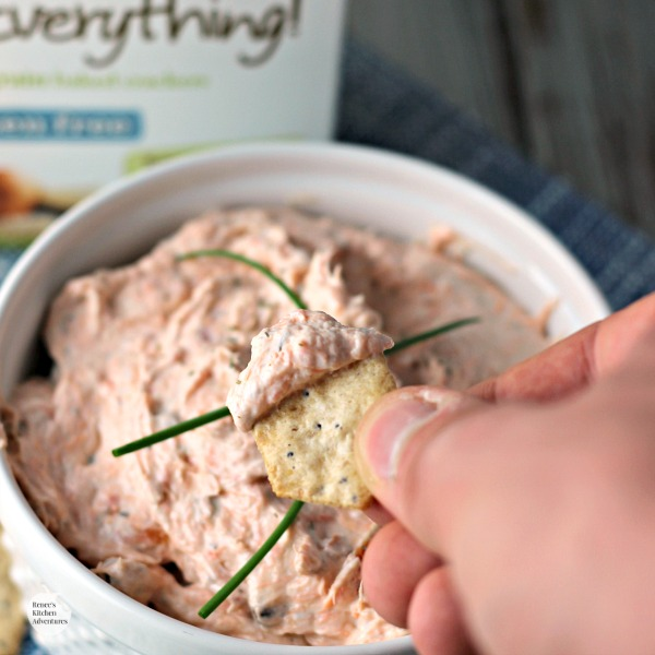 Easy Smoked Salmon Dip | by Renee's Kitchen Adventures - easy recipe for a fabulous smoked salmon dip which goes perfect with Van's Simply Delicious, Gluten-Free Lots of Everything Crackers! #ad