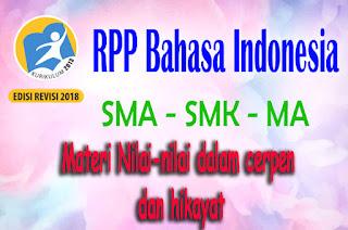 RPP Bahasa Indonesia Materi Nilai-nilai dalam cerpen dan hikayat