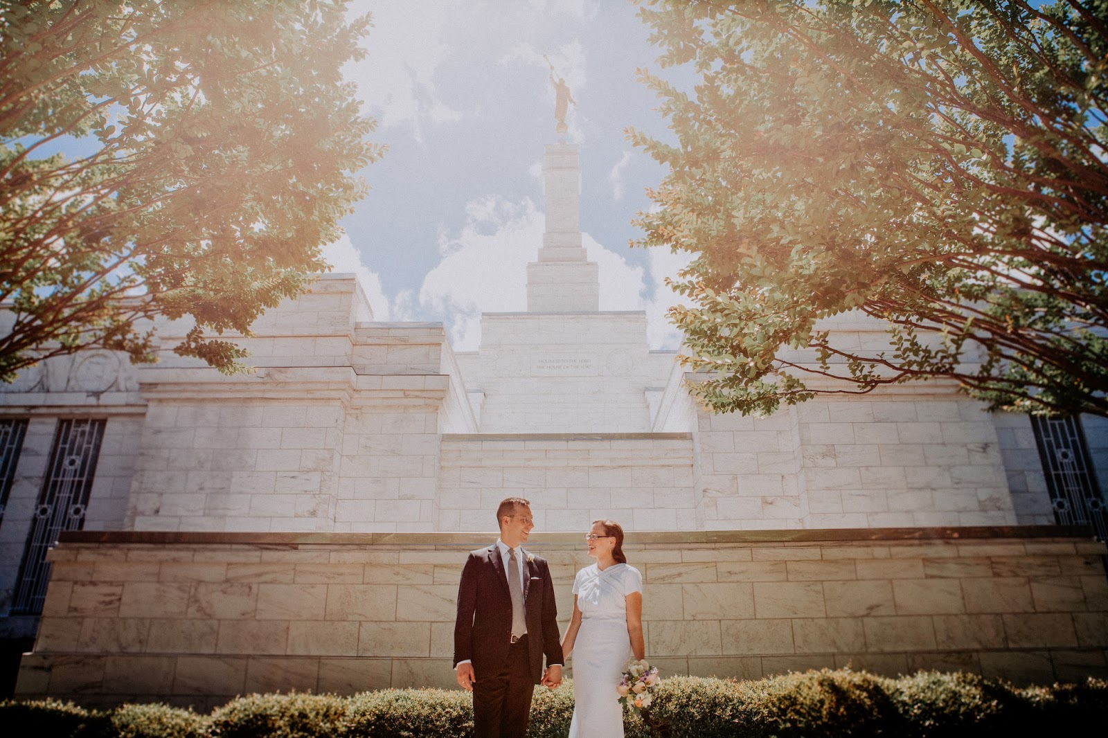 a wedding at the Church of Jesus Christ of Latter-Day Saints Raleigh NC temple
