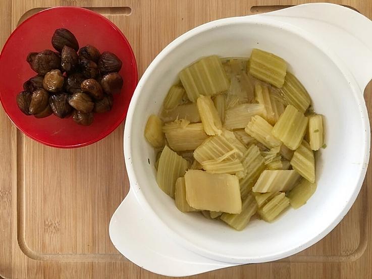 Crema de cardos con castañas
