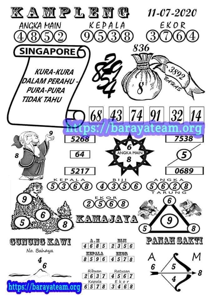 Kampleng SGP Sabtu 11 Juli 2020