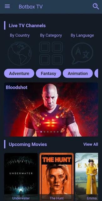 تحميل تطبيق Botbox TV  تلفزيون بوت بوكس لمشاهدة القنوات التلفزيونية المجانية و الافلام