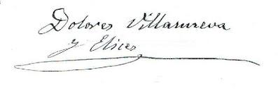 Una copia de la firma de Dolores Villanueva