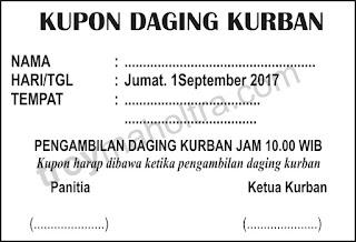 Contoh Kupon Daging Kurban
