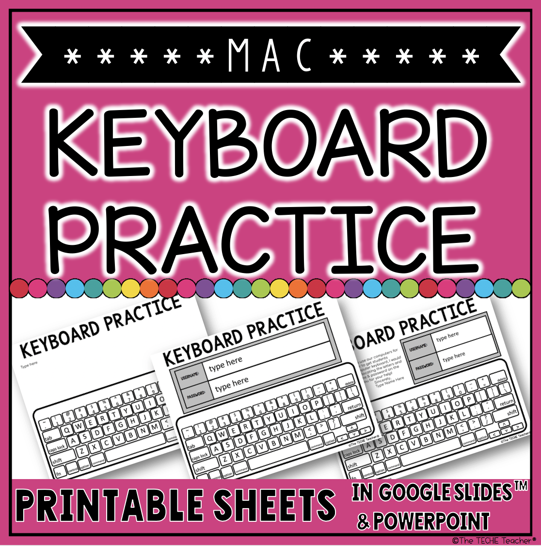 MAC Keyboard Practice Sheets for logging in