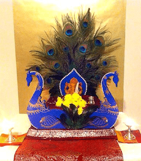 ganesh decoration with peacock