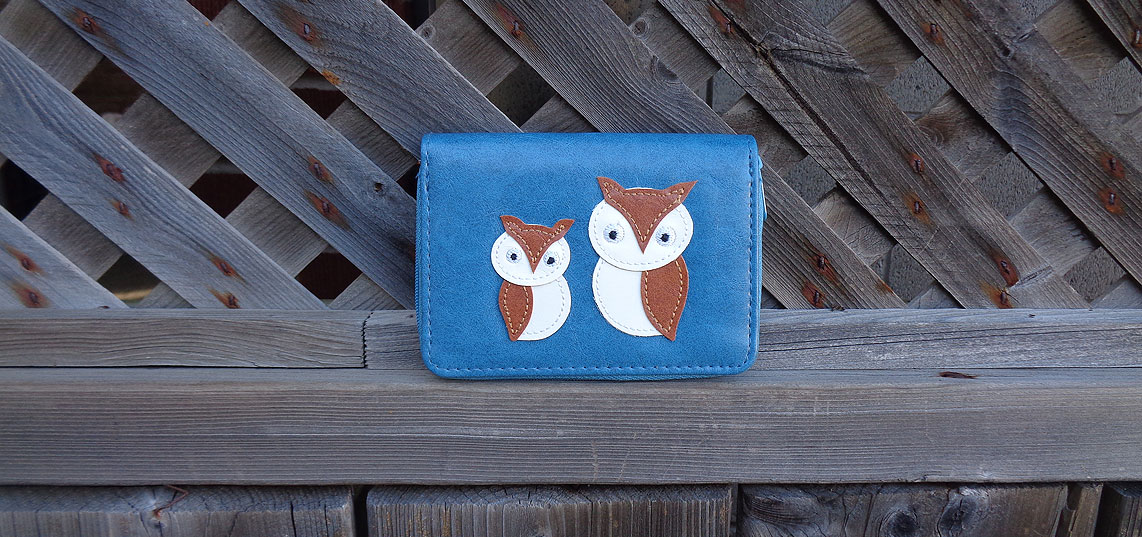 LAVISHY vegan leather applique card holder feature owl mama and owl bebe