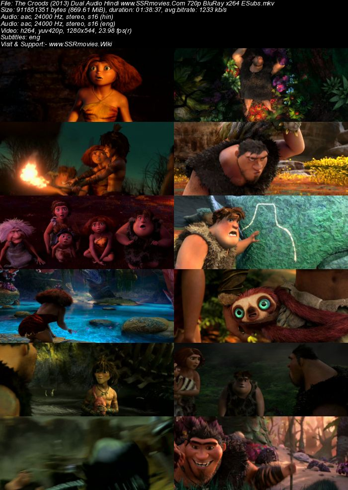 The Croods (2013) Dual Audio Hindi 720p BluRay x264 850MB ESubs Movie Download