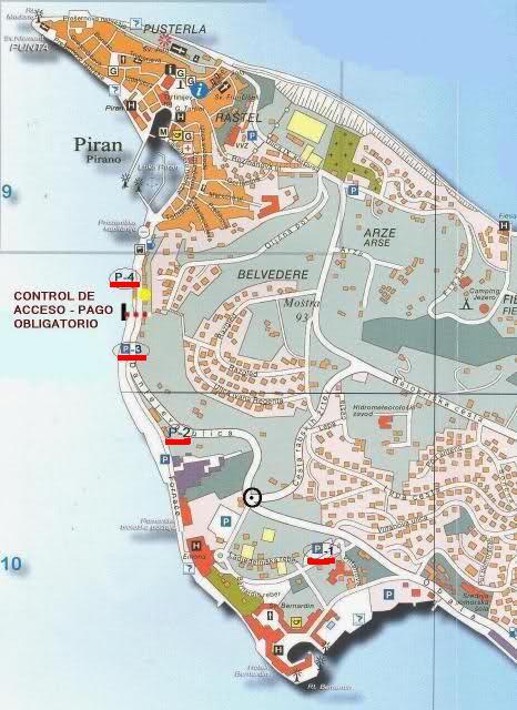 Mapa de aparcamientos en Piran