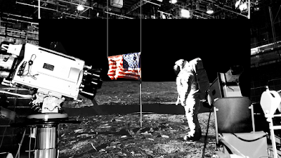 Here's a television camera in the same photo as the Moon landing.