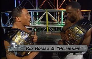 WCW Greed 2001 - Kid Romeo and Prime Time Elix Skipper celebrate backstage