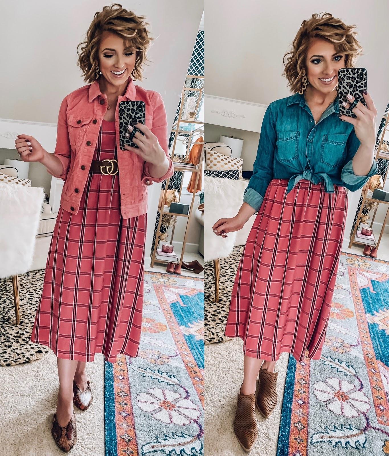 Old Navy Pink & Burgundy Plaid Midi Dress styled Four Ways  - Somethig Delightful Blog #affordablefashion