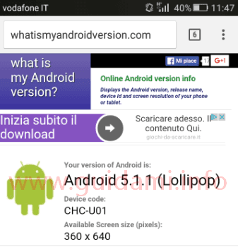 Sito per sapere la versione Android installata