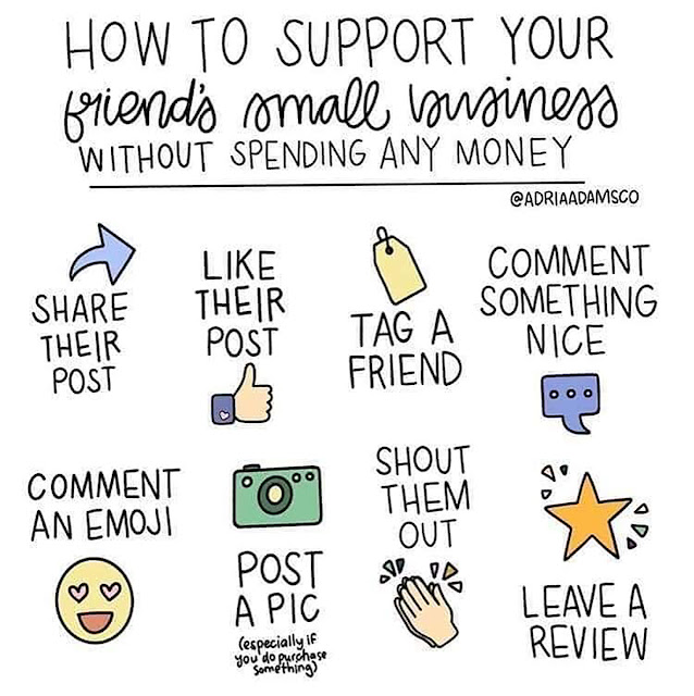 How to support your friend's small business without spending any money: Share their post, like their post, tag a friend, comment something nice, comment an emoji, post a pic, especially if you do purchase something, shout them out, leave a review. – Adria Adams Co.