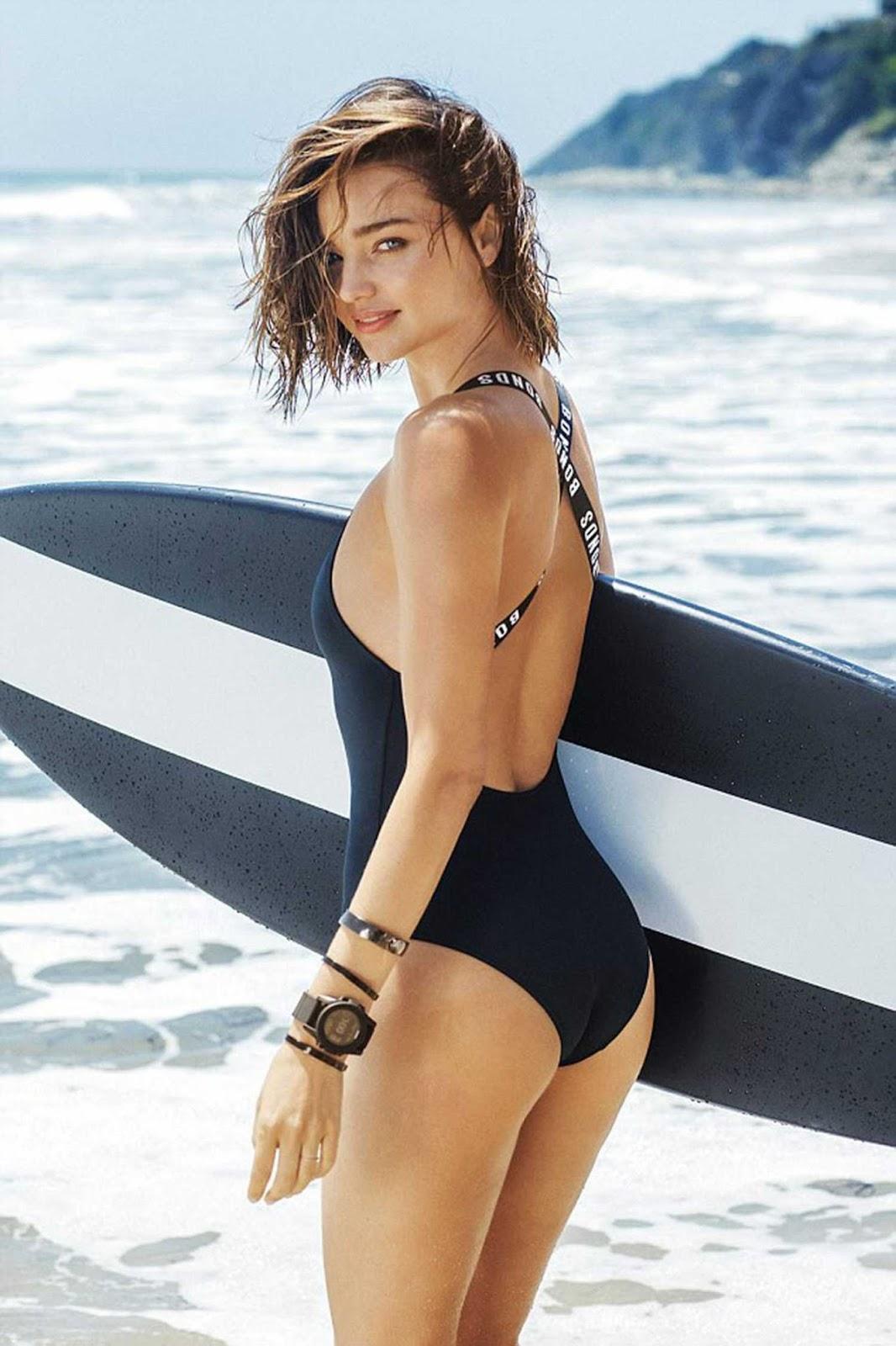 Miranda Kerr gets into swimwear for Bonds Campaign