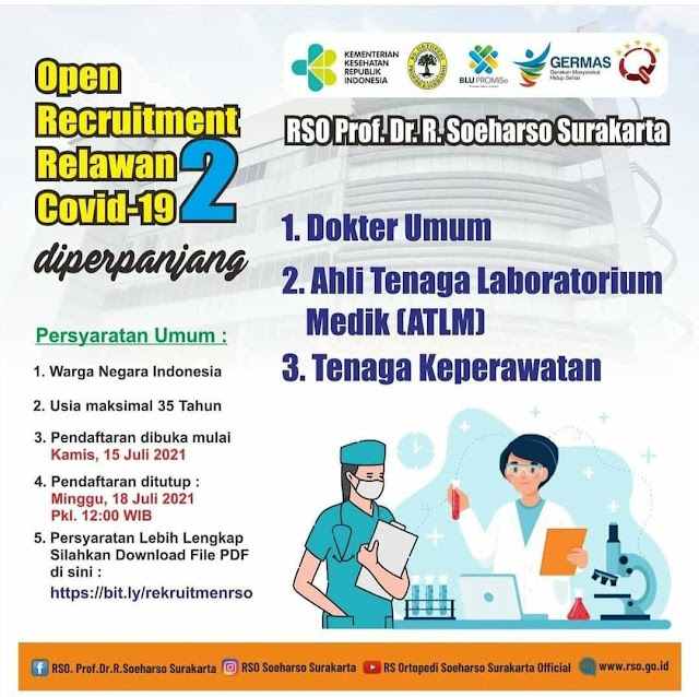 Open Recruitmen Relawan Covid-19 RSO Prof. Dr. R. Soeharso Surakarta